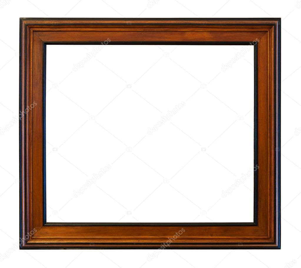 Wooden brown  frame. Isolated over white background with clipping path — Stok fotoğraf #6879006
