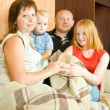Family relaxing on sofa — Stock Photo #7557847