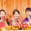 Women eats pancake — Stock Photo