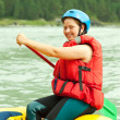 Girl on raft — Stock Photo #7559884