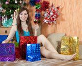 Girl celebrating new year — Stock Photo