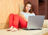 Girl with laptop — Foto Stock