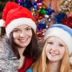 Girls in Christmas hats — Stock Photo #7568278