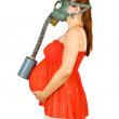 Stock Photo: Pregnant womin gas-mask over white