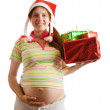 Royalty-Free Stock Photo: Pregnant woman with  boxes