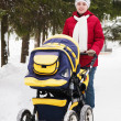 Mother with perambulator  in wintery park — Stock Photo