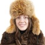 Woman in sheepskin and fox cap — Stock Photo #7599328