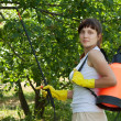Female gardener with knapsack garden spray — Stock Photo #7599384
