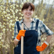 Female farmer  with spade - Stock Photo