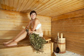 Girl at sauna — Stock Photo