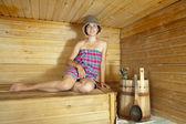 Woman in sauna — Stock Photo