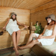Happy girls in sauna — Stock Photo #7609844