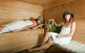 Girls in sauna — Stock Photo