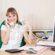 Manager speaking by two phone — Stock Photo #7610721