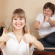 Happy women showing thumb up — Stock Photo