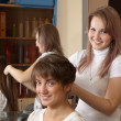 Hair stylist works on woman hair - Stock Photo