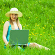 Girl with laptop outdoor — Stock Photo