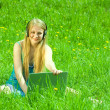 Girl on meadow with laptop — Stockfoto