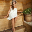 Girl in sauna — Stock Photo