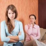 Mother and teen daughter having quarrel — Stock Photo