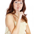 Woman making silence sign — Stock Photo