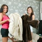 Women make boast of fur coats — Stock Photo