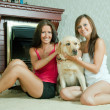 Foto Stock: Women with Labrador retriever