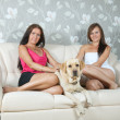 Women with labrador retriever in home interior — Stock Photo