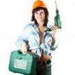 Foto Stock: Girl with drill over white