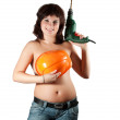 Foto Stock: Topless womwith drill over white