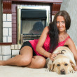 Stock Photo: Woman with Labrador retriever in home