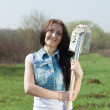 Стоковое фото: Gardener with spade outdoor