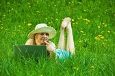 Girl with notebook outdoor — Stock Photo