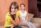 Teenager daughter and mother after quarrel — Stock Photo
