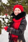 Vintern porträtt av kvinna — Stockfoto