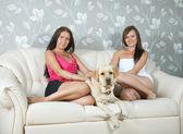 Women with labrador retriever in home interior — Stock Photo
