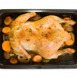 Chicken in roasting pan — Stock Photo
