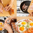 Cooking fried bacon and eggs — Stock Photo