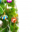 Christmas fir tree with colored balls — Stock Photo