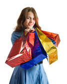 Girl with shopping bags — Foto Stock