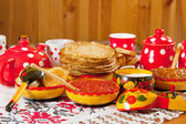 Russian Shrovetide table — Stock Photo