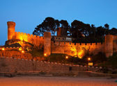 Vila Vella castle. Tossa de Mar in night. Spain — Stock Photo
