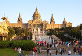 Before National Palau of Montjuic — Stock Photo