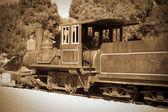 Retro photo of old locomotive — Stock Photo