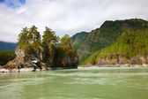 Mountains river with rocky riverside — Stock Photo