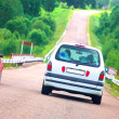 Cars on dangerous bend — Stock Photo #7143252