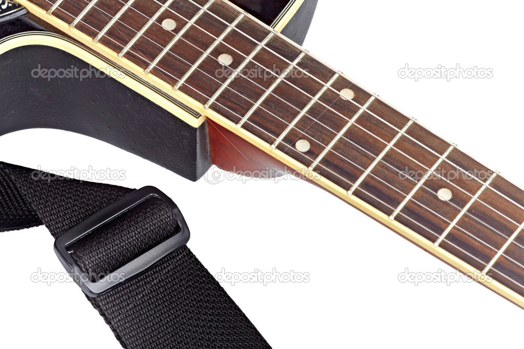 Acoustic guitar fingerboard isolated on the white background — Stock Photo #7384448
