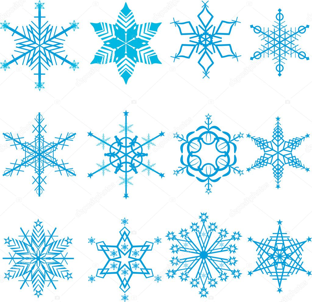 Set of winter snowflakes on white background  Stock Vector #7488688