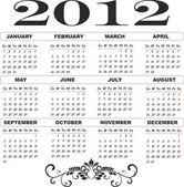 2012 year calendar template — Stock Vector