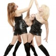 Three girls hands in top. Oath — Stockfoto